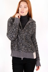 Zadig & Voltaire Grey - Ecru Knitted Cardigan / Size: S - Fit: True to size